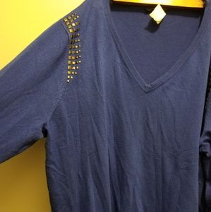 Long royal blue tunic with metal embellishments